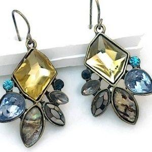 Yellow Multi Crystal Cluster Drop Dangle Earrings